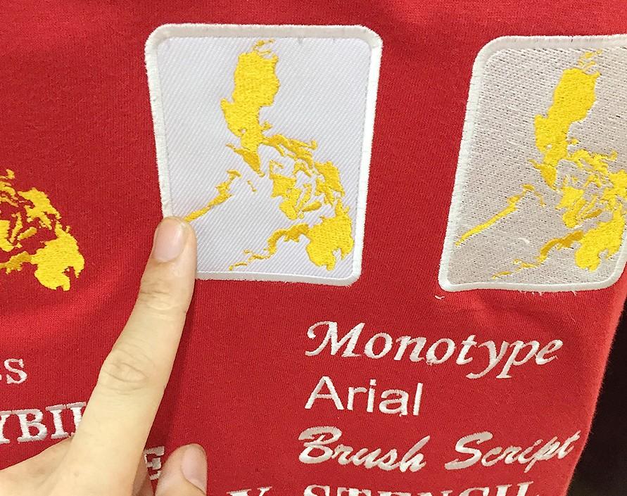 フィリピンの島国ワッペンを刺繍したオリジナルTシャツ