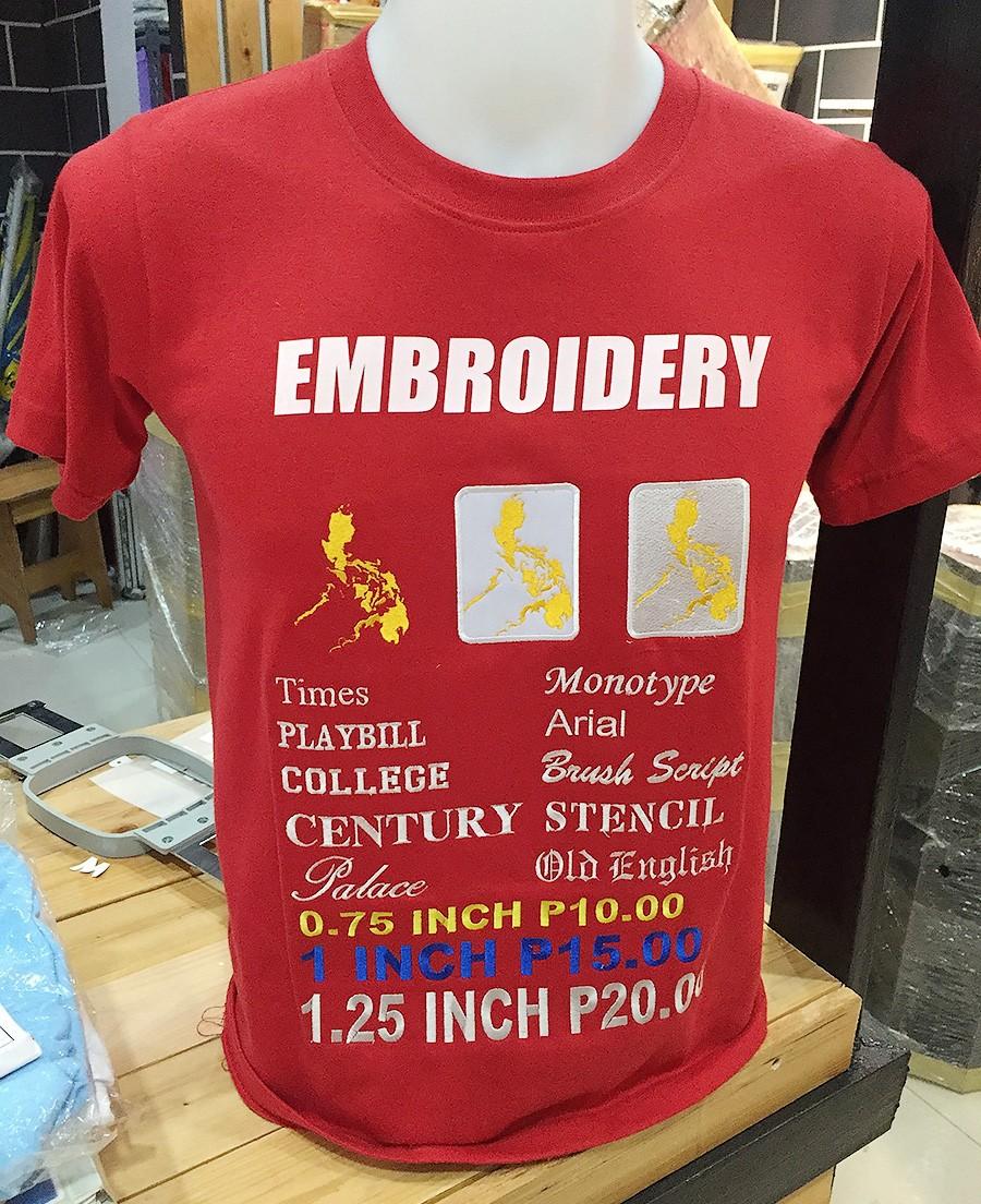 刺繍の料金表も兼ねているオリジナルTシャツ