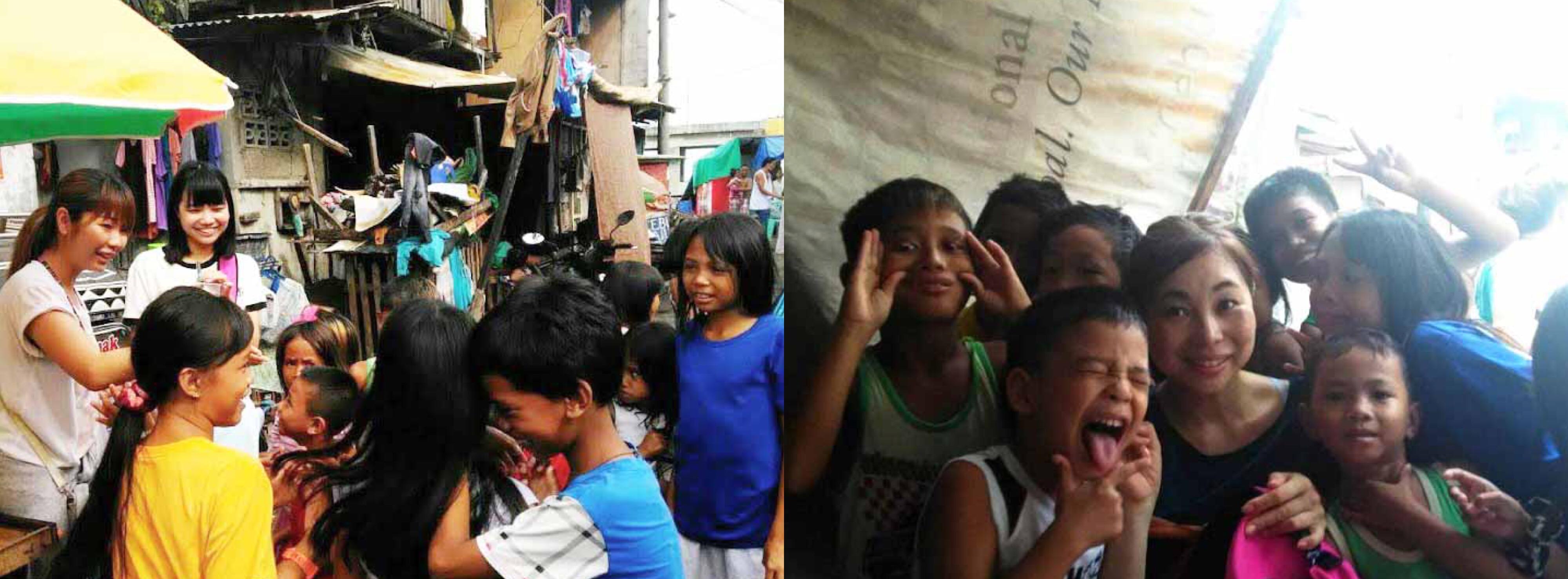 フィリピン人と触れ合うさくらさん、お友達、お母さん