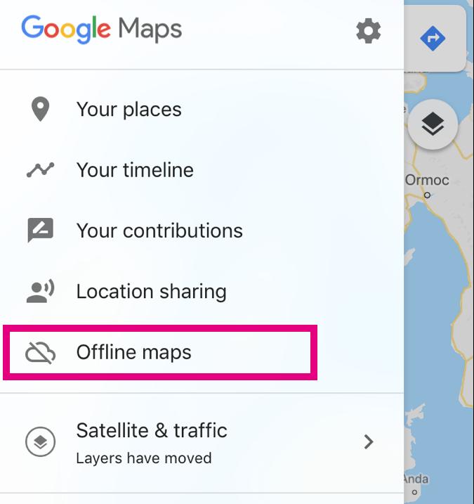オフラインマップの場所