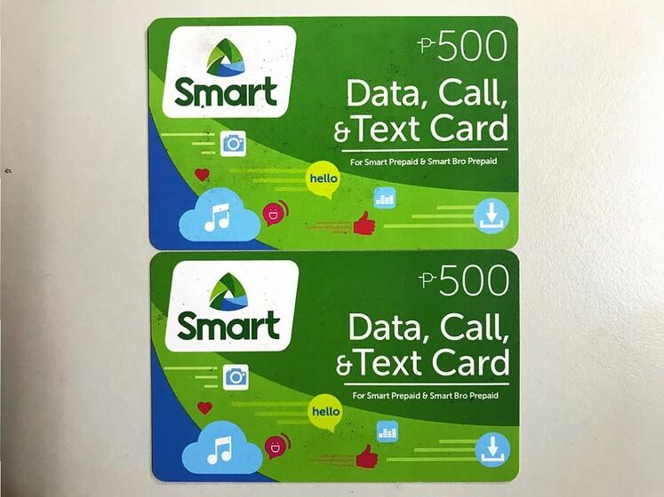 Smartのプリペイドカード(500ペソ分×2)