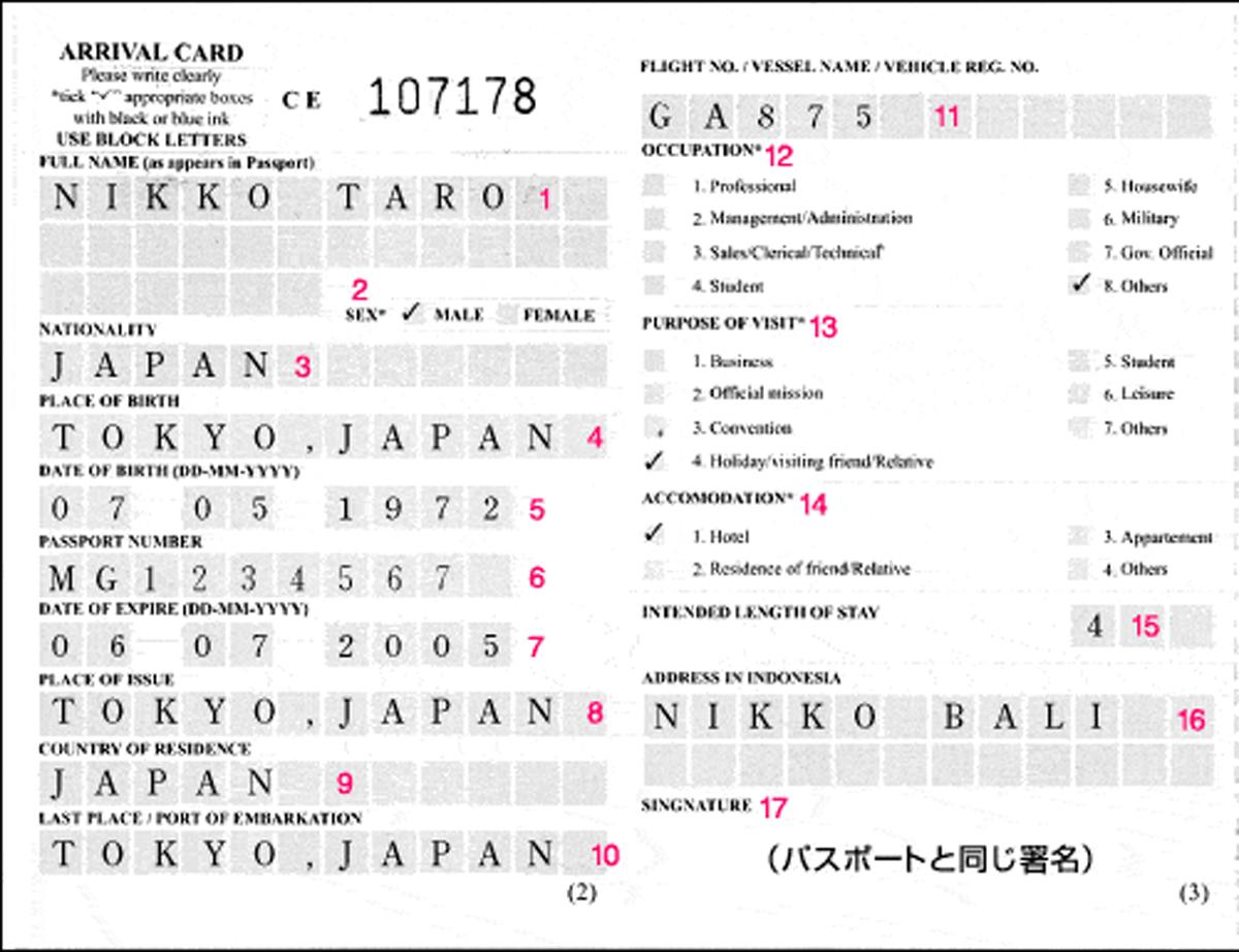 入出国カード