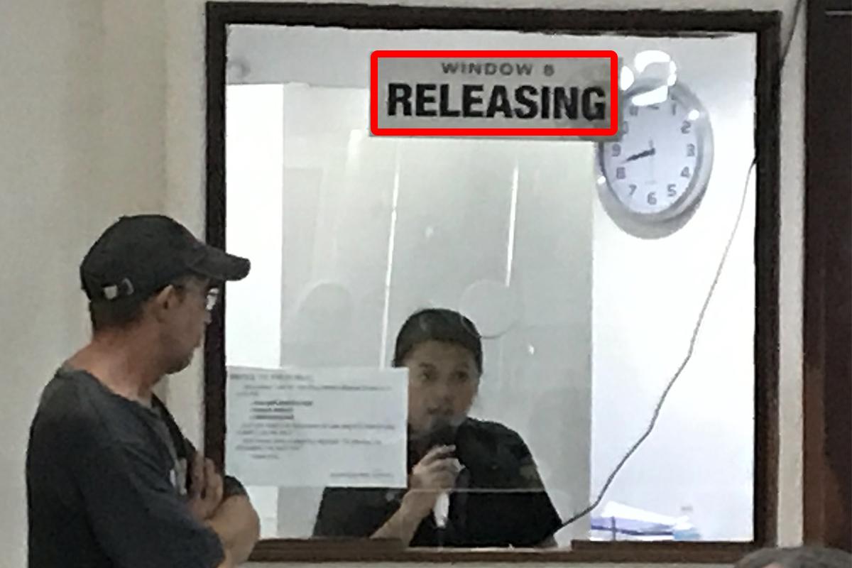 セブ島のJセンター・モール内にあるイミグレーションのRELEASING(引き渡し)窓口